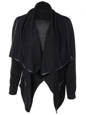 Affordable Asymmetric Design Draped Collar Leather Jacket