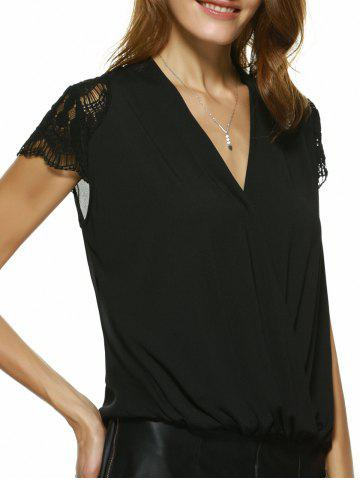 Fancy V Neck Lace Insert Blouse