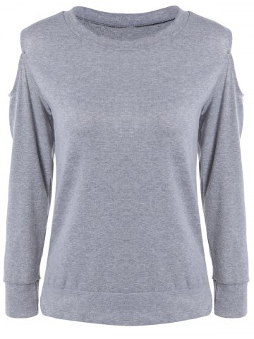 Chic Hollow Out Grey Loose Fitting T-Shirt