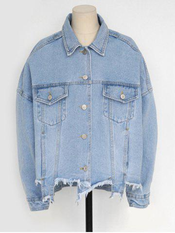 Best Single-Breasted Beggar Thin Jeans Jacket - M LIGHT BLUE Mobile
