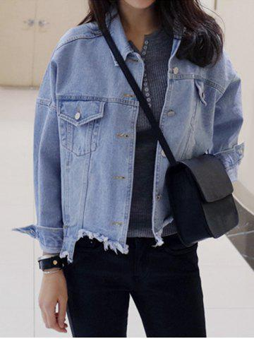 Hot Single-Breasted Beggar Thin Jeans Jacket - M LIGHT BLUE Mobile