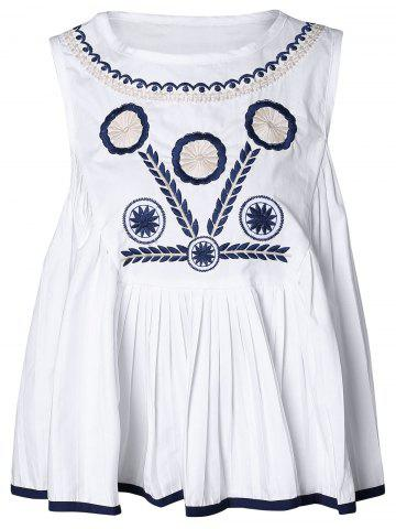 New Ethnic Print Embroidery Tank Top