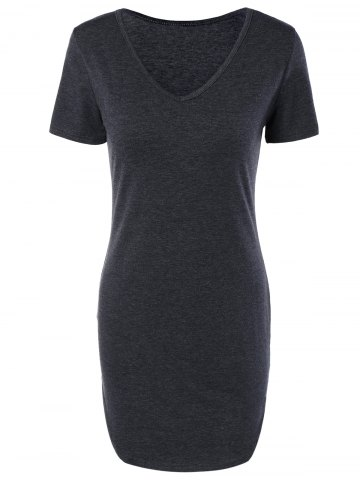Online Casual V Neck Grey Furcal Bodycon Dress
