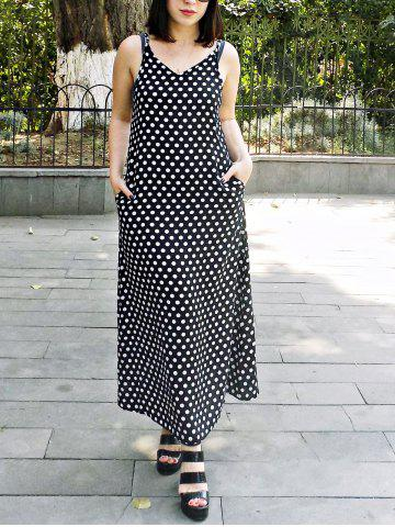 Outfit Bohemian Strappy Polka Dot Baggy Maxi Dress