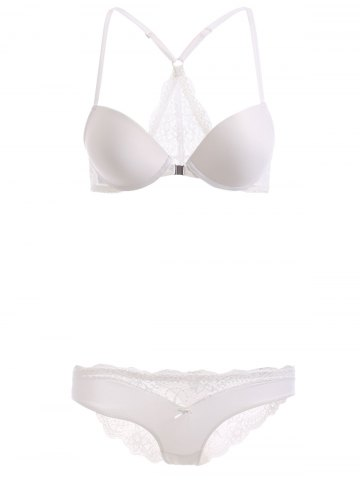 Outfit Front Closure Push Up Bra Set with Lace - 80C WHITE Mobile