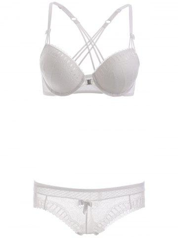 Outfit Front Closure Strappy Bra Set with Lace - 75C WHITE Mobile