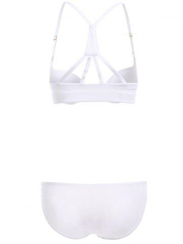 Chic Front Closure Solid Color Push Up Bra Set - 80B WHITE Mobile