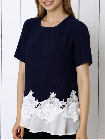 Chic Floral Pattern Spliced Casual T-Shirt PURPLISH BLUE 3XL