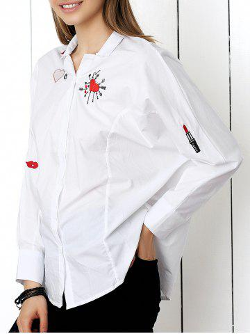 Fashion Chic Embroidery Buttoned Loose-Fitting Women's Shirt