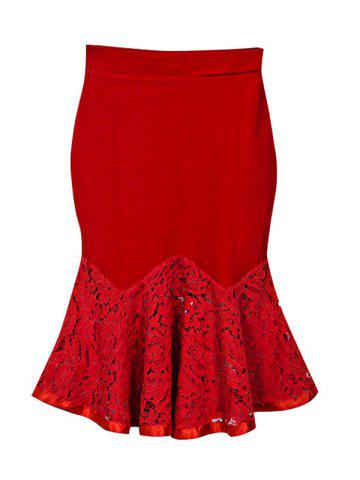 Chic Charming Lace Spliced Flounce Women's Mermaid Skirt RED XL