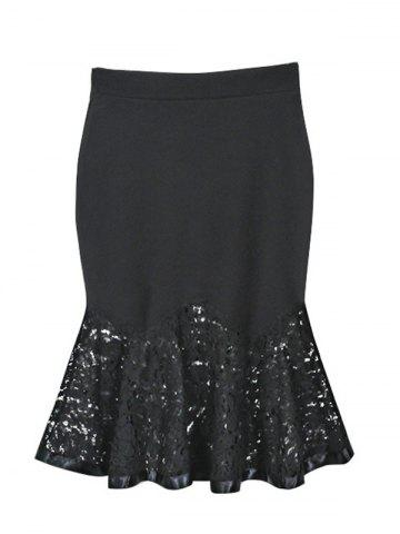 Discount Charming Lace Spliced Flounce Women's Mermaid Skirt