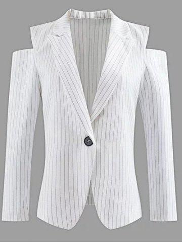 Affordable Lapel One-Button Striped Cut Out Cold Shoulder Blazer WHITE S