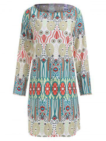 Cheap Ethnic Totem Print Long Sleeve Dress