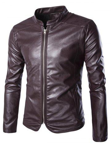 Brief Zip Up Stand Collar Long Sleeve Faux Leather Jacket For Men