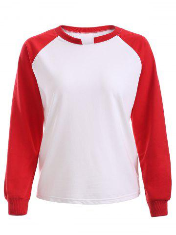 Affordable Raglan Sleeves Hit Color Sweatshirt