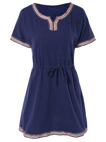 New Ethnic Embroidered Drawstring Dress For Women