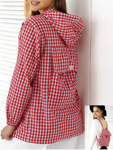 Chic Chic Hooded Plaid Buttoned Multifunction Women's Blouse