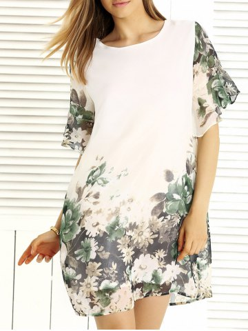 Outfits Charming Floral Print Loose-Fitting Women's Dress