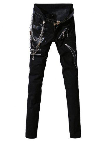 PU-Leather Spliced Zip-Up Embellished Zipper Fly Narrow Feet Pants For Men - Black - 28