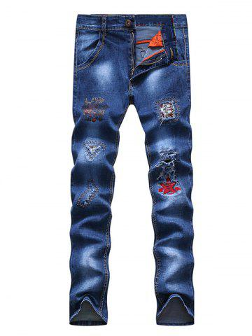 Fancy Embroidery Patch and Holes Design Zipper Fly Narrow Feet Jeans For Men BLUE 33
