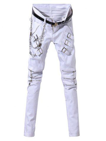 Affordable Zip-Up and Belt Embellished Zipper Fly Narrow Feet Pants For Men