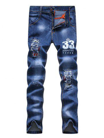 Online Number Print Patch and Holes Design Zipper Fly Narrow Feet Jeans For Men
