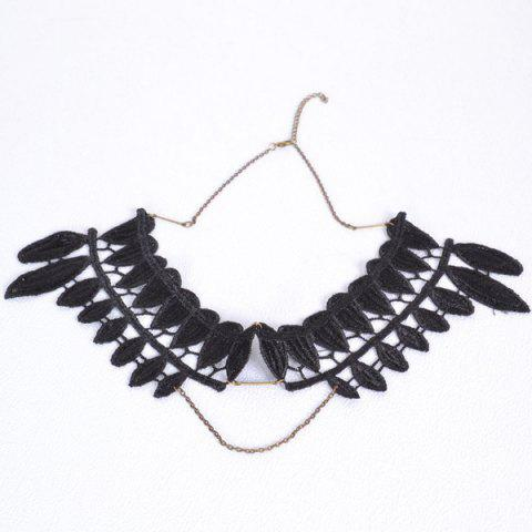 Store Vintage Leaf Fake Collar Necklace BLACK