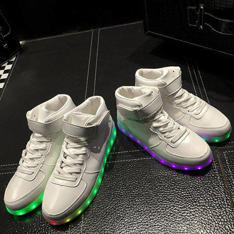 Online Trendy Lights Up Led Luminous and Tie Up Design Athletic Shoes For Women - 40 WHITE Mobile