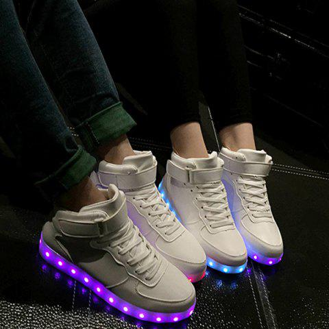 Sale Trendy Lights Up Led Luminous and Tie Up Design Athletic Shoes For Women - 40 WHITE Mobile