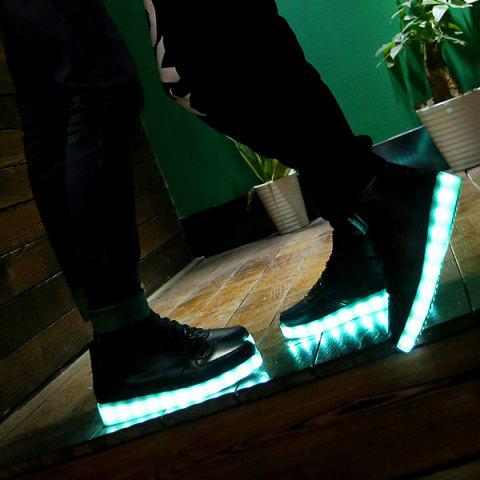 Fashion Trendy Lights Up Led Luminous and Tie Up Design Athletic Shoes For Women - 42 BLACK Mobile