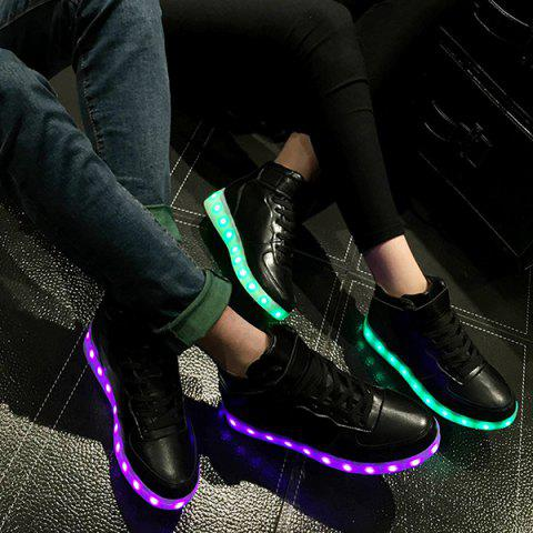 Fancy Trendy Lights Up Led Luminous and Tie Up Design Athletic Shoes For Women - 42 BLACK Mobile