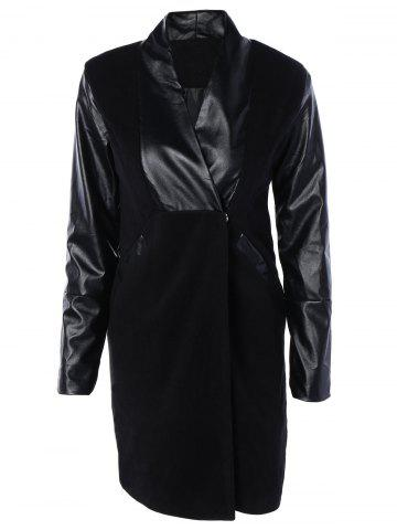 Chic Fashionable PU Leather Spliced Long Wool Coat