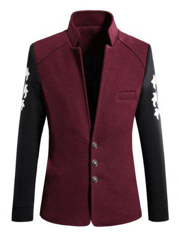 Stand Collar Color Block Spliced Long Sleeve Coat For Men