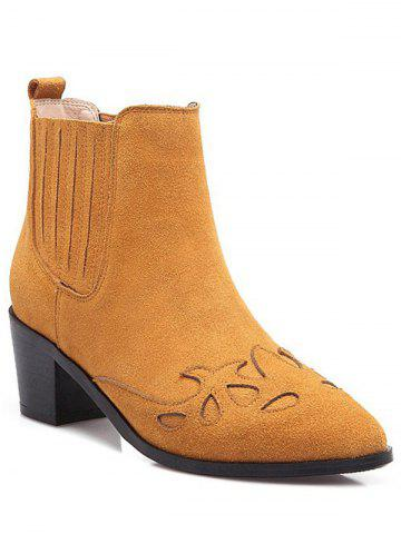 Discount Engraving Pointed Toe Ankle Boots
