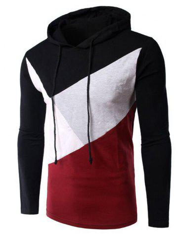 Hot Casual Style Color Block Spliced Long Sleeve Hoodie For Men BLACK 2XL