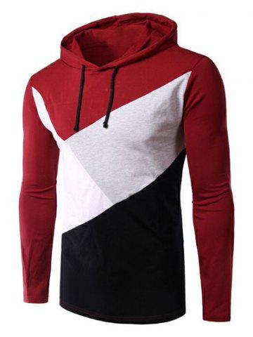 Online Casual Style Color Block Spliced Long Sleeve Hoodie For Men - 2XL RED Mobile
