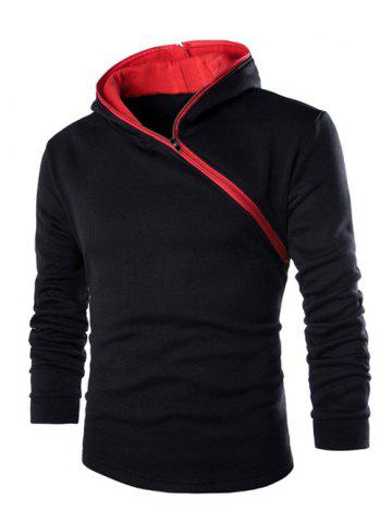 Fashion Casual Style Diagonal Zipper Design Long Sleeve Black Hoodie Men