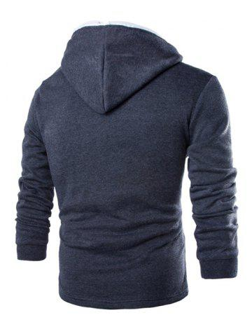 Affordable Casual Style Diagonal Zipper Design Long Sleeve Hoodie For Men - M GRAY Mobile