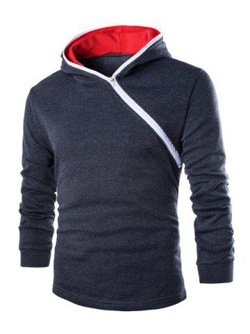 Discount Casual Style Diagonal Zipper Design Long Sleeve Hoodie For Men - M GRAY Mobile