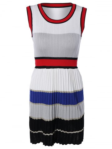 Cheap Chic Color Block Pleated Design Sleeveless Dress