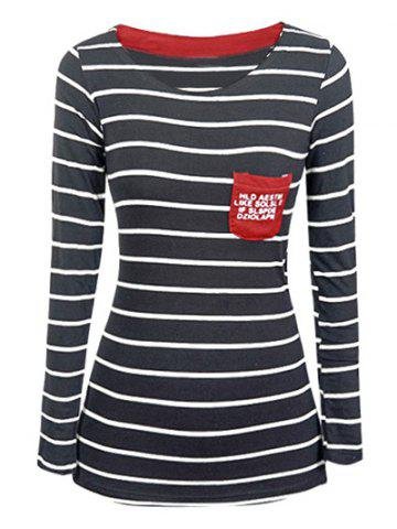 Buy Chic Pocket Design Striped Slimming Women's T-Shirt