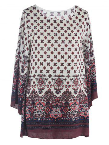 Best Ornate Printed Shift Dress With Sleeves WHITE 2XL