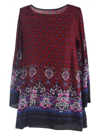 Store Ornate Printed Shift Dress With Sleeves WINE RED 2XL