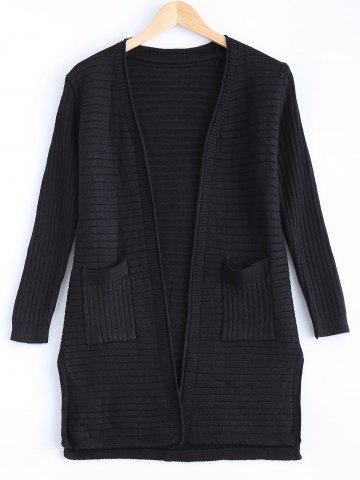 Latest Simple Women's Double Pockets Pure Color Collarless Cardigan BLACK ONE SIZE