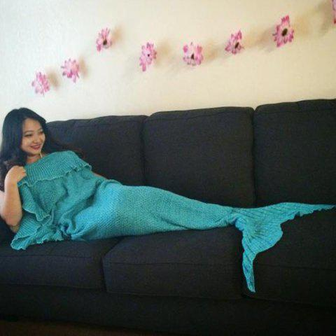 Store Stylish Comfortable Falbala Decor Knitted Mermaid Design Throw Blanket
