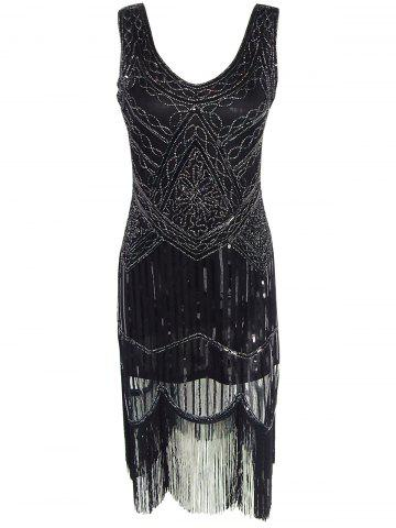 Vintage Beaded Fringed Sequin Flapper Dress - Black - S