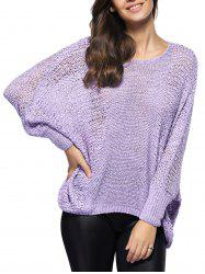 Asymmetric Batwing Sleeve Openwork Sweater -