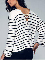Back Lace-Up Striped Sweater -