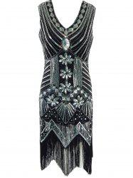 Fringed Sequined Wavy Cut Vintage Flapper Dress - BLACK