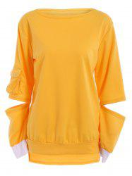 Stylish Hollow Out Long Sleeve Pullover Sweatshirt For Women -